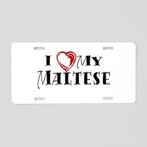 I Heart My Maltese Aluminum License Plate