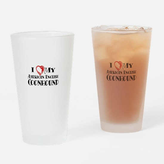 I Heart My Am. English Coonhound Drinking Glass