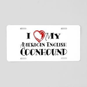 I Heart My Am. English Coonhound Aluminum License