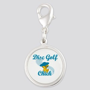 Disc Golf Chick #3 Silver Round Charm