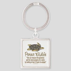 Protect Sea Turtles Square Keychain