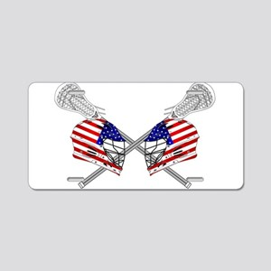 Two Lacrosse Helmets Aluminum License Plate