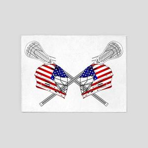 Two Lacrosse Helmets 5'x7'Area Rug