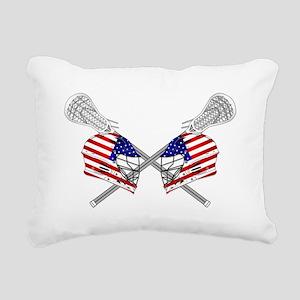 Two Lacrosse Helmets Rectangular Canvas Pillow