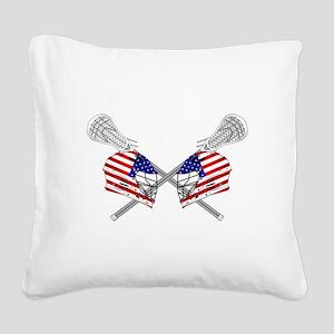 Two Lacrosse Helmets Square Canvas Pillow