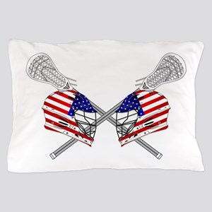 Two Lacrosse Helmets Pillow Case