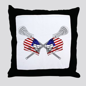Two Lacrosse Helmets Throw Pillow