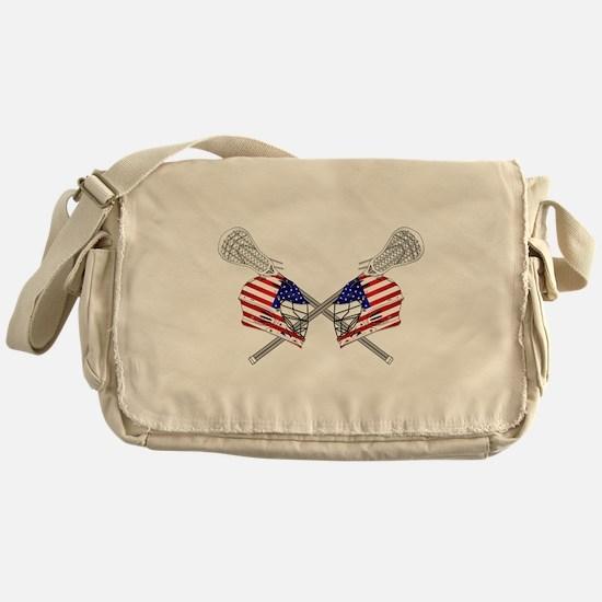 Two Lacrosse Helmets Messenger Bag