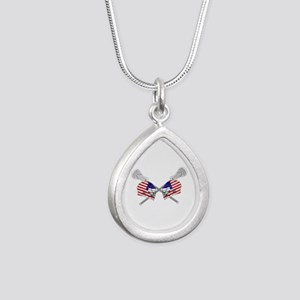 Two Lacrosse Helmets Silver Teardrop Necklace