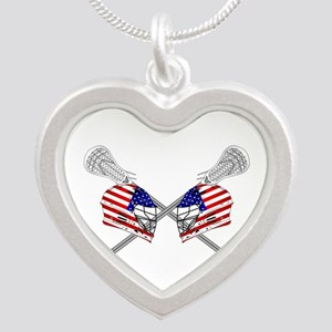 Two Lacrosse Helmets Silver Heart Necklace