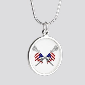 Two Lacrosse Helmets Silver Round Necklace