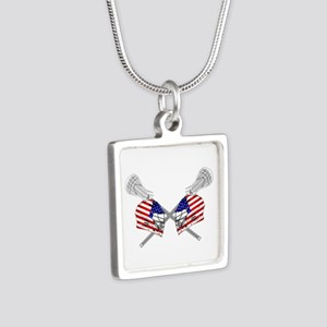 Two Lacrosse Helmets Silver Square Necklace