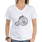 Faded Vintage 1900s Bicycle Women's V-Neck T-Shirt