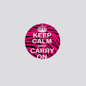 Pink Zebra Keep Calm and Carry On Mini Button