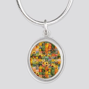 Spring Flower Patchwork Quilt Silver Oval Necklace