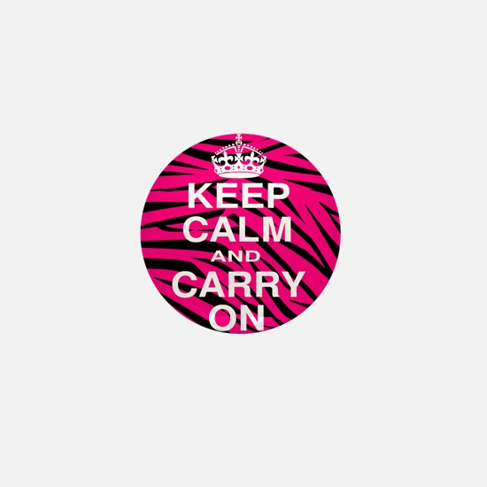 Keep Calm and Carry on Pink Zebra Stripes Mini But