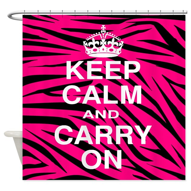 Keep Calm and Carry on Pink Zebra Stripes Shower C by BeachBumming