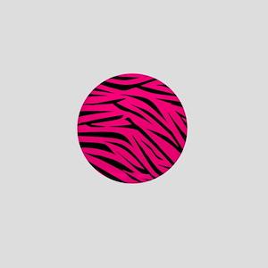 Zebra Stripes Print in Pink and Black Mini Button