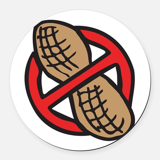No Peanuts! Round Car Magnet