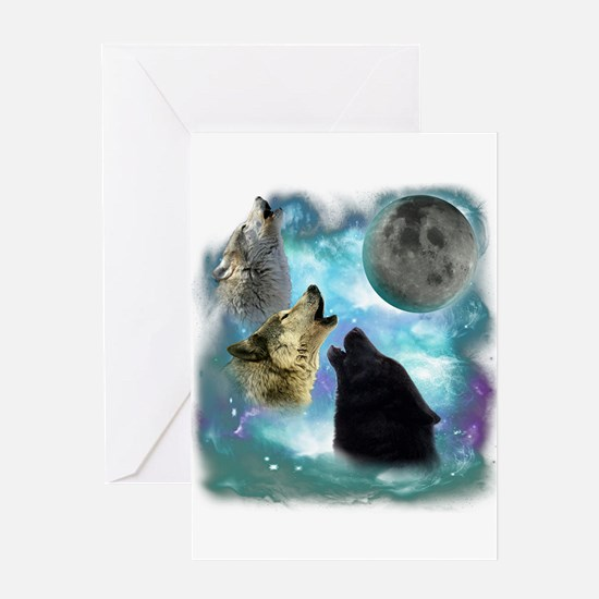 Wolves Misty Shine 01 Greeting Card