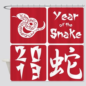 Red Square Year of the Snake 2013 Shower Curtain