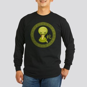 Cute Chinese Year of the Snake Long Sleeve Dark T-