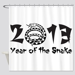 2013 Year of the Snake Black Shower Curtain