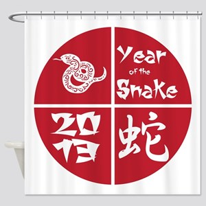 Red Circle Year of the Snake 2013 Shower Curtain