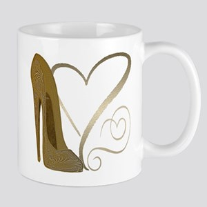 Vintage Stiletto Shoe Hearts Mug
