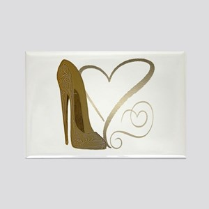 Vintage Stiletto Shoe Hearts Rectangle Magnet