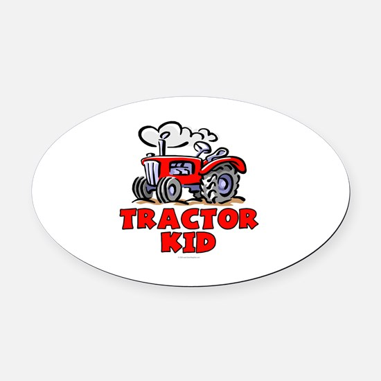 Red Tractor Kid Oval Car Magnet