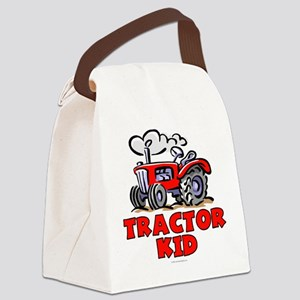 Red Tractor Kid Canvas Lunch Bag
