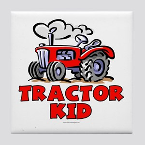 Red Tractor Kid Tile Coaster