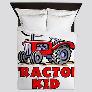 Red Tractor Kid Queen Duvet