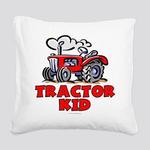 Red Tractor Kid Square Canvas Pillow
