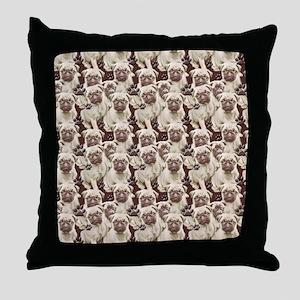 Pugs Everywhere Throw Pillow