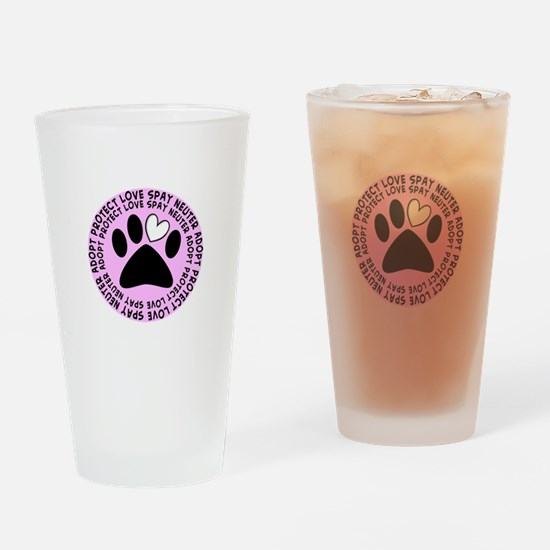 Spay neuter BIGGER PINK.PNG Drinking Glass