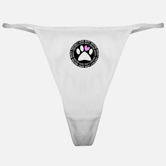 spay neuter adopt BLACK OVAL.PNG Classic Thong