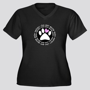 spay neuter adopt BLACK OVAL Women's Plus Size
