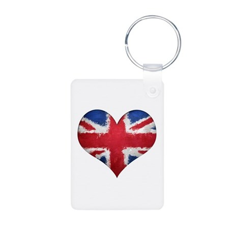British heart Aluminum Photo Keychain