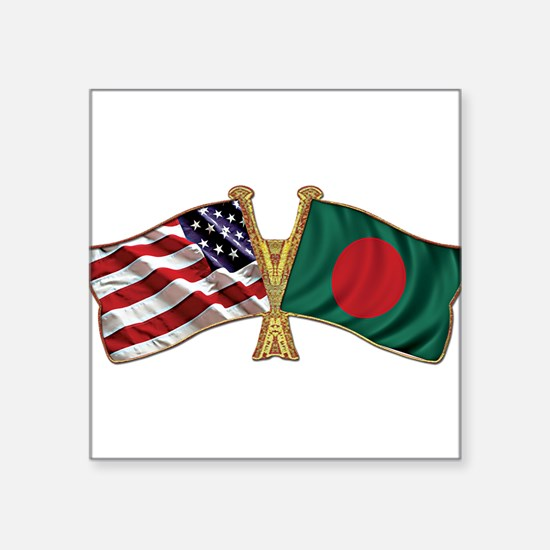 Bangladesh-American Friend Ship Flag Square Sticke