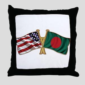 Bangladesh-American Friend Ship Flag Throw Pillow