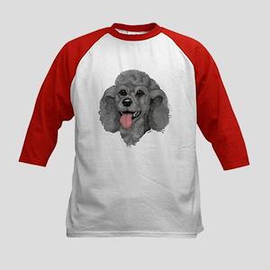 Gray Poodle Kids Baseball Jersey