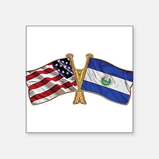 El-Salvador America Friend ship flag. Square Stick
