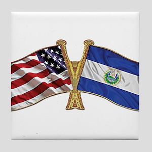 El-Salvador America Friend ship flag. Tile Coaster