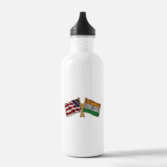 India Usa Friend ship falgs Water Bottle