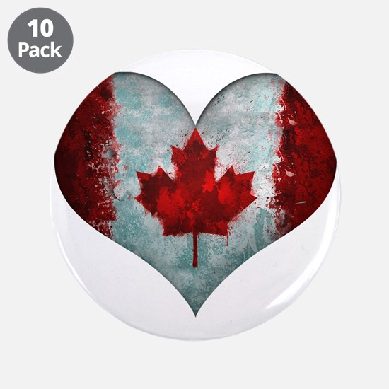"""Canadian heart 3.5"""" Button (10 pack)"""