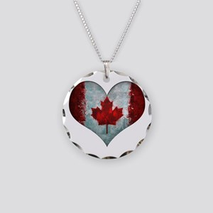 Canadian heart Necklace Circle Charm