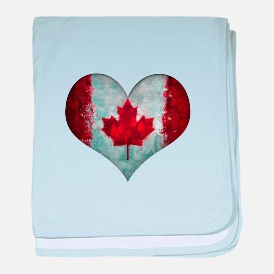 Canadian heart baby blanket