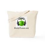 Educational Apple with headphones. Tote Bag